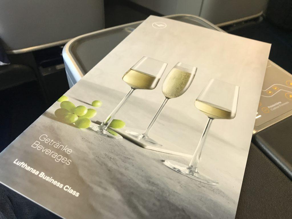 Lufthansa A340 business class wine