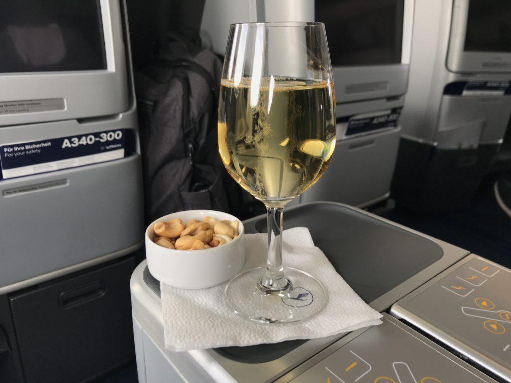 Lufthansa A340 business class pre-departure beverage
